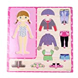 1 Set Wooden Girl Dressing Up Clothes Puzzles Kids Matching Pretend Play Toy