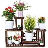 FOLDIFY Pine Wood Plant Stand Indoor Outdoor Multiple Flower Pot Holder Shelf Rack Higher and Lower Planter Display Shelving Unit in Garden Balcony Patio Living Room(7-9 Flowerpots)