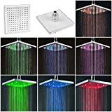 shower head Top 8' inch Square Rain Stainless Steel Bathroom 7 Colors LED Light