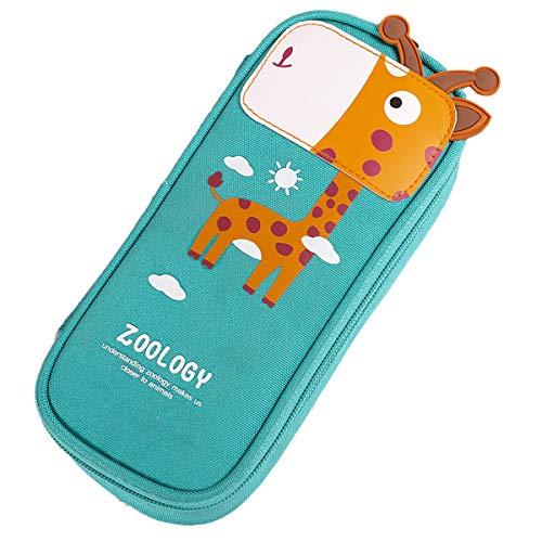 Travistar Giraffa Astuccio,Grande Astuccio Quadrato Per Matite, Cancelleria, Sacchetto Con Cerniere Per Ragazzi e Ragazze Bello Giraffa Verde