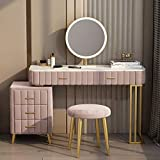 Vanity Table, Vanity Set with Cushioned Stool, Drawers, Makeup Dressing Table with LED Luminous Mirror for Girls Women(Sintered Stone Top) Gray and Pink