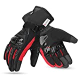kemimoto Winter Motorcycle Gloves, Waterproof Warm Motorcycle Gloves for Men with Hard Knuckle Protection Touchscreen Gloves for Winter Riding, ATV, Scooter, Snowmobile - Red, XX-Large