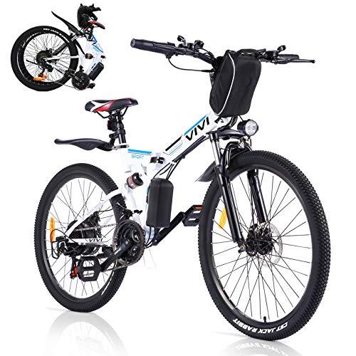 VIVI Vélo Électrique Pliable VTT Électrique,26' Vélo Électrique en Montagne,350W Moteur Vélo électrique pour Adulte vec Batterie Amovible 36V / 8AH Professionnel Shimano 21 Vitesses