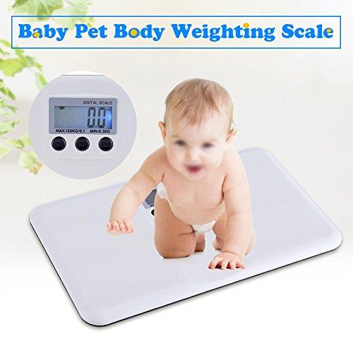 Tonysa LCD Digitalwaage Gewichtswaage, elektronische EIN/Tara-Funktion Batterie schwach/Sperre Alarm Baby Haustier Körpergewichtungswaage