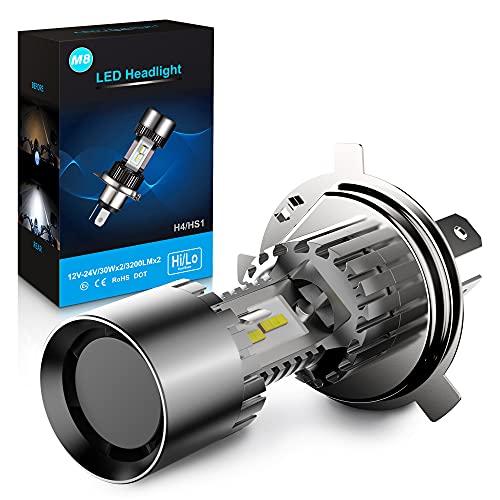 H4/9003/HB2 Lampadina LED per Fari Moto/Scooter, 6400LM, 6000K Bianco, 12V, Confezione da 1