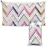 XCNGG Toallas de baño de Secado rápido Toallas de baño para el hogar Toallas Beach Fitness Lounge Chair Large Towel Abstract Zigzag Pattern for Cover Design Quick Dry Towel 28.7 x 51 Inch