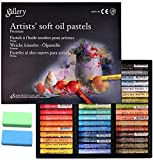 [Mungyo Gallery] Non Toxic Soft Oil Pastels Set of 48 Assorted Colors, Bundle with Rubber Pastel Erasers for Artist and Professionals