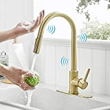 Gold Touch Kitchen Faucets with Pull Down Sprayer Single Handle Automatic Kitchen Sink Faucet with Pull Out Sprayer Smart Kitchen Faucet Gold, Stainless Steel Kitchen Faucet Brushed Gold