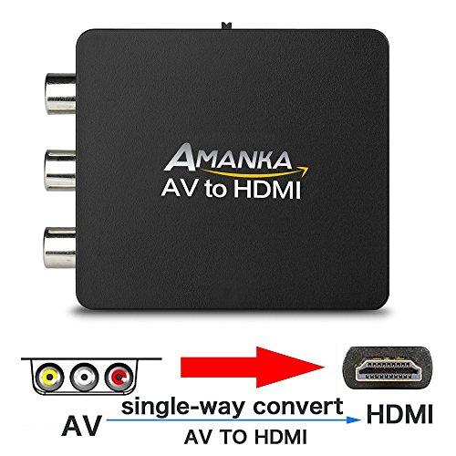 AMANKA Mini AV a HDMI Convertitore Adattatore,1080P Composito RCA CVBS a HDMI Convertitore con Cavo USB per TV PC PS3 Blue-Ray DVD XBOX SKY HD VHS VCR,Nero