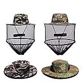 VIPITH 2 Pack Mosquito Head Net Hat, Sun Hat Bucket Hat with Hidden Net Mesh Mask for Outdoor Lover Fishing Hiking Gardening Beekeeping Men or Women