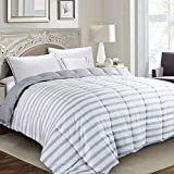 Edilly All Season Luxury Down Alternative Quilted Queen Comforter-Stand Alone Comforter for Queen Size Bed,Year Round Duvet Insert with 4 Corner Tabs,88''x 88'',Gray White Stripe
