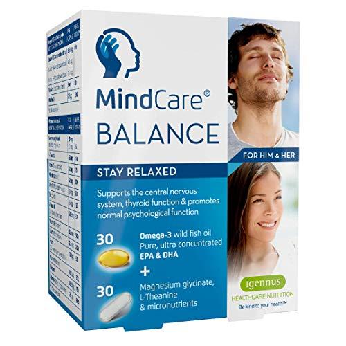 MindCare BALANCE, natürliche Unterstützung bei innerer Unruhe und Stress, mit Omega-3, Magnesium, L-Theanin & einem Vitamin B Komplex für das Nervensystem, 60 Kapseln
