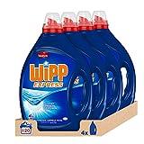 WiPP Express Detergente Líquido Azul, Total 120 Lavados, Pack de 4
