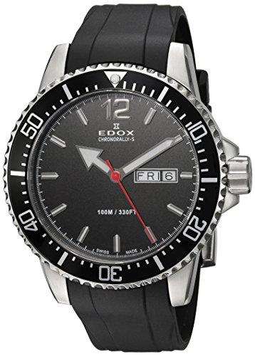 EDOX Herren Analog Quarz Uhr mit Gummi Armband 84300 3CA NBN