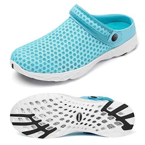 SAGUARO Zuecos y Mules Mujer Zapatillas Hombre Verano Sandalias Senderismo Zapatos de Jardín Antideslizante Malla Sandalias para Caminar Ponerse Secado Rápido Chancletas Azul Zuecos 37