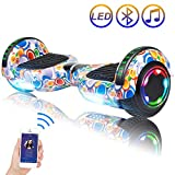 Hoverboard Self Balancing Scooter 6.5' Two-Wheel Self Balancing Hoverboard with Bluetooth Speaker and LED Lights Electric Scooter for Adult Kids Gift UL 2272 Certified Fun Edition - Colorful Bubbles