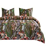 Wake In Cloud - Forest Comforter Set, Autumn Fall Camo Leaves Trees Wood Hunter Woodland and Brown Branches with Nature Theme, Soft Microfiber Bedding (3pcs, King Size)
