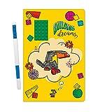LEGO Stationery Building Dreams Cuaderno de tapa dura con ladrillo verde de 10 x 15 cm y bolígrafo de gel azul