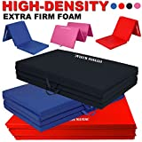 FITNESS MANIAC Heavy Duty Folding Mat Thick Foam Fitness Exercise Gymnastics Panel Gym Tri and Four Fold Mat Non Slip Mats with Carrying Handles Yoga Aerobics Workout Training (Four Fold, Black)