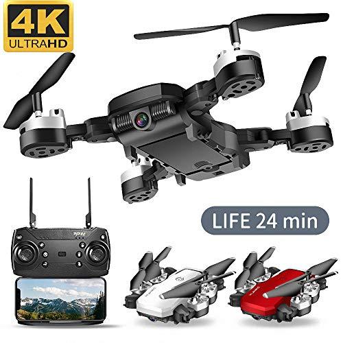 Qnlly WiFi FPV Batteria Lunga RC Drone Grandangolo Selfie Quadcopter Altitudine Drone con Fotocamera 4K 2.4GHz Deone con Storage Bag,Nero