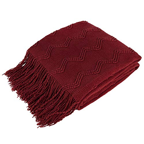 PAVILIA Knitted Throw Blanket Fringe Dark Red Wine Burgundy | Decorative Tassel Boho Farmhouse Decor Couch Bed Sofa Fall Outdoor | Woven Textured Afghan Soft Lightweight Cozy Warm Acrylic 50x60