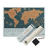 Luckies of London LUKBAC Carte du Monde à Gratter Scratch Map Backpack Bleu