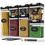 Chef's Path Airtight Food Storage Container Set - 7 PC Set - Labels - Kitchen & Pantry Organization Containers - BPA-Free - Clear Plastic Canisters for Flour, Cereal with Improved Lids