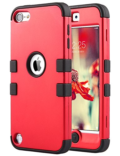 ULAK iPod Touch 7th Generation Case, iPod Touch 6th Generation Case, Heavy Duty High Impact Shockproof Protective Silicone Rugged Cover for iPod Touch 5/6/7 (Red)