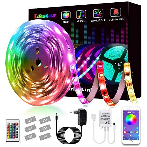 Striscia LED,L8star LED Striscia 5M SMD 5050 RGB Strisce Luminose con Controller Bluetooth Sincronizza con la Musica Adatto per TV,Camera da letto, Decorazioni per feste e per la casa