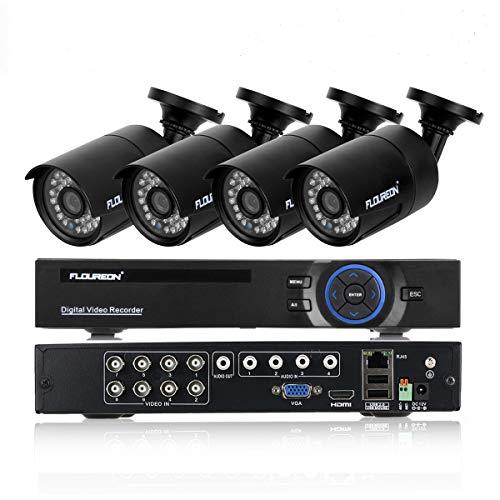 Kit de cámaras de vigilancia DVR FLOUREON 8CH 1080N AHD HDMI DVR 4 * 960P 2000TVL Cámara externa de 1.3MP, respaldo USB Alarma de correo electrónico Sistema de seguridad Disco duro no incluido