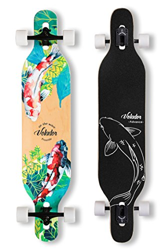 VOLADOR 42inch Freeride Longboard Complete Cruiser (Drop Through Deck - Camber concave)(Meditation)