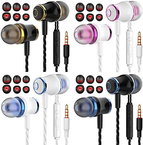 4 Pairs Headphone Heavy Bass Stereo Earphones Earbuds with Remote & Microphon,Laptops,Gaming Noise Isolating Tangle Free Headsets in Ear Headphones 19