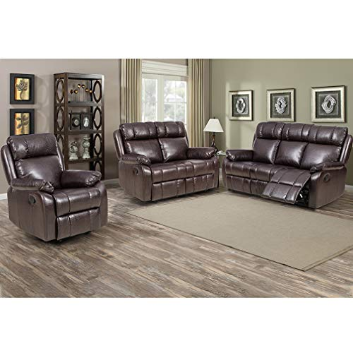 FDW Recliner Sofa Set Sectional Sofa for Living Room Furniture PU Leather Sofa and Couch Manual Reclining Sofa Recliner Chair, Love Seat, and Sofa (3seat) Home (Brown)