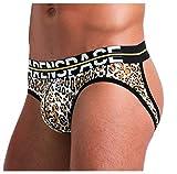 Arjen Kroos Jockstrap String Homme Slip Sexy Motif Imprimé Tanga Thong sous-vêtement Lingerie Masculine Sport (Léopard, XXL (92-102cm))
