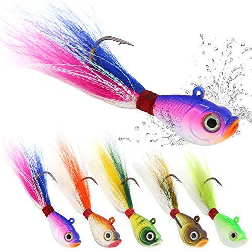 Bucktail Jigs Saltwater Hair Jigs Head Flukes Fishing Lures Assorted Kit for Striped Bass Walleye...