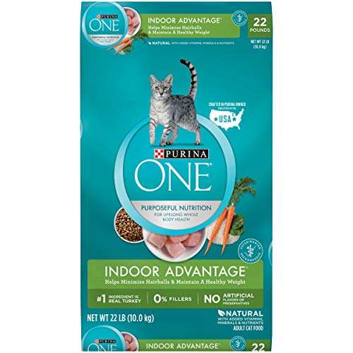 Purina ONE Hairball, Weight Control, Natural Dry Cat Food, Indoor Advantage - 22 lb. Bag