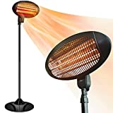 Electric Outdoor Heater - Halogen Patio Heater, Space Heater with 3 Power Levels for Patio, 500/1000/1500W, Courtyard, Garage Use, Overheat Protection, Tip-Over Shut Off
