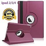 Newraturner iPad 2/3/4 Case - 360 Degree Rotating Stand Smart Case Protective Cover with Auto Wake Up/Sleep Feature for Apple iPad 4, iPad 3 & iPad 2 (Purple)