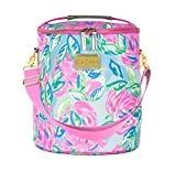 Lilly Pulitzer Pink/Blue/Green Insulated Soft Beach Cooler with Adjustable/Removable Strap and Double Zipper Close, Totally Blossom