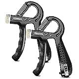 O-Kinee Hand Grip Pinza Mano, Manopole Mani Riabilitazione Mano per Polso Avambraccio Forza di Allenamento Manico Antiscivolo Regolabile Resistenza 5-60 kg (2 Pezzi)