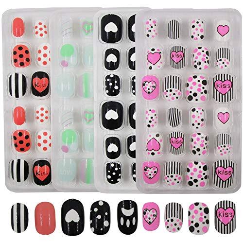 4pack Teens Cute Heart Print Fake Nails Adhesive Press on Nail Tips Full Cover Short Almond Artificial False Nails for Kids, Girls (Acrylic Tips Kits A)