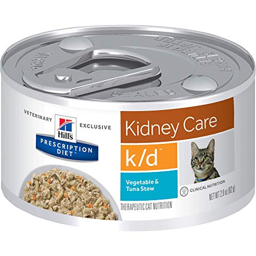 Product Image 1: Hill's Prescription Diet k/d Kidney Care Vegetable, Tuna & Rice Stew Wet Cat Food, 2.9 oz. Cans, 24 Pack