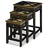 ChinaFurnitureOnline Black Lacquer Nesting Table, Hand Painted Chinese Mountain Landscape Set of 3 Table