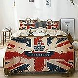 Popun Juego de Funda nórdica Beige, Maleta de Viaje Vintage con Bandera británica, Cinta de Londres e Imagen de Corona, Juego de Cama Decorativo de 3 Piezas con 2 Fundas de Almohada