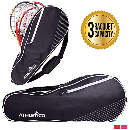 Athletico 3 Racquet Tennis Bag | Padded to Protect Rackets & Lightweight | Professional or Beginner Tennis Players | Unisex Design for Men, Women, Youth and Adults (Black)