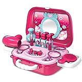 Buyger Maletin Maquillaje Niñas Estuche Belleza Joyería Peluqueria Kit Juguete Accesorios Regalo para Princesa Niñas Infantil 3 4 5 Años