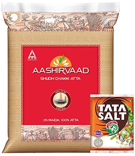 Aashirvaad Flour - Whole Wheat Atta, 10kg Pack + Tata Salt, 1kg (Promo Pack)