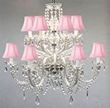 Chandelier Made with Swarovski Crystal! Murano Venetian Style All-Crystal Chandelier with Pink Shades!