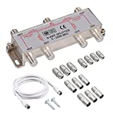 Justech 6-Voies Répartiteur Satellite F Type de Splitter Coax Splitter Câble...
