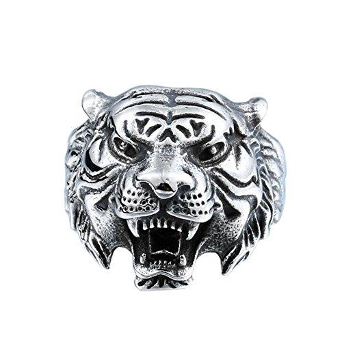 PAMTIER Hombres Acero Inoxidable Vendimia Gótico Biker Tigre Cabeza Ring Band Animal Diseño Negro Plata Tamaño 14